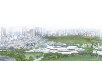 国際デザイン・コンクールで入選したSANAA+日建設計の外観パース(資料:日本スポーツ振興センター)
