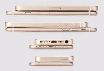 ボディーサイズの関係からか、本体上にあった電源ボタンが右側に付いた。厚みはおよそ7mmと、iPhone 5sと比較して0.6mmほど薄い