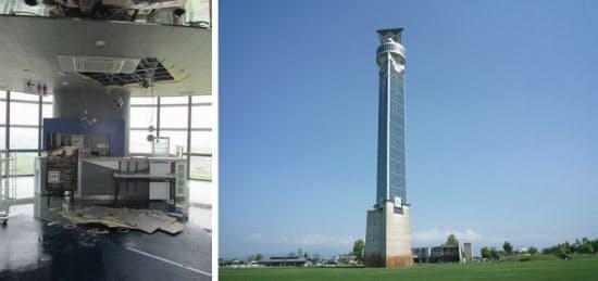 [左]漏水が見つかった展望フロアの天井。被害状況を確認するため天井を開けている(写真:公益財団法人クロスランドおやべ) [右]クロスランドタワーの外観。高さは118m。1994年5月に完成した(写真:クロスランドタワー)