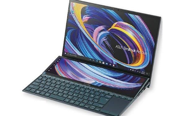 図1 通常の画面とは別に、キーボード側にも画面を持つ画期的なパソコン。新CPUを搭載しリニューアルされた