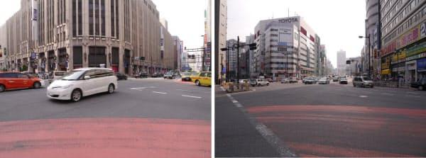 [左]明治通りと新宿通りが交わる新宿3丁目交差点。正面に伊勢丹新宿店が建つ [右]明治通りと甲州街道が交わる新宿4丁目交差点。交差点から甲州街道がJR線をまたぐ新宿駅方向を撮影した