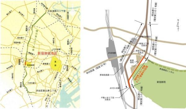 [左]東京都が都市計画道路として定めた「環状第5の1号線」の概要。2004年12月時点の資料から抜粋した。大部分は明治通りとして既に開通している。点線は事業中の区間で、拡幅工事などが進められている(資料:東京都) [右]新宿駅周辺の明治通りと御苑通りの位置(資料:東京都などの資料を基にケンプラッツが作成)