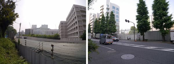 [左]新宿御苑側からバイパスの予定地を見る。写真右は東京都立新宿高校の校舎 [右]明治通りの千駄ヶ谷5丁目交差点付近。バイパスはここで明治通りと合流する
