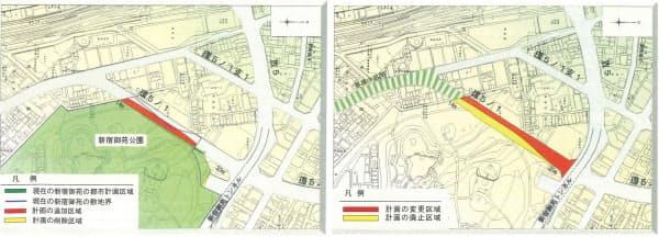 [左]公園変更区域図。当初の計画では、赤い部分も道路の計画ルート上にあった。しかし、道路の構造を見直したことで、新宿御苑の公園区域として変更、追加されることになった [右]道路変更区域図。当初の計画では、新宿御苑の敷地である黄色い部分を道路区域として定めていた。黄色い部分には、落羽松の群落などがある(資料:いずれも東京都)