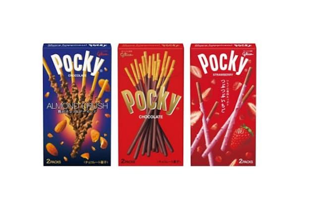 ポッキーは商品のバリエーションを広げ続けている(中央は基本のチョコレート味)