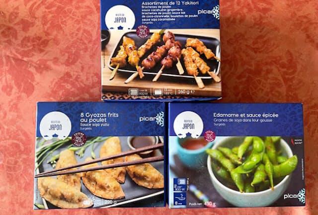 筆者がフランスのピカールで購入した焼き鳥、ギョーザ、枝豆の冷凍食品