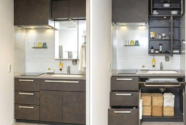 洗面化粧台とキッチンを融合させた「MIXINK(ミキシンク)」。単なる洗面化粧台に見えるが左側にIHコンロを備える