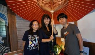 たからのやまの笹田、奥田、本田(左から)