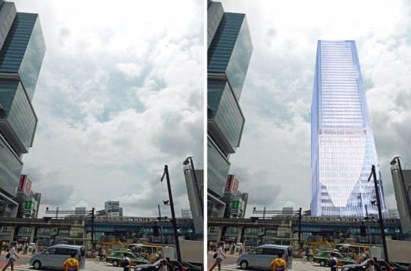 [左]現在の渋谷駅東口を北側から見る。左端は「渋谷ヒカリエ」(写真:ケンプラッツ) [右]東棟の完成予想図を重ねる。東棟はヒカリエよりも45mほど高くなる(資料:東急電鉄の資料を基にケンプラッツが作成)