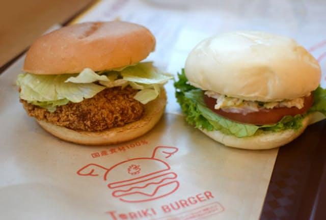 個性豊かなチキンバーガー専門店。写真は左からトリキバーガーの「トリキバーガー」、「サラダチキン~バジル~」(いずれも390円)