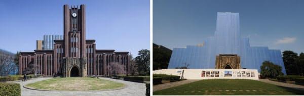 左は改修前の安田講堂の外観。右は2014年7月28日時点の様子。外観は竣工当時の姿を残す(写真:左は小川 重雄、右は日経アーキテクチュア)