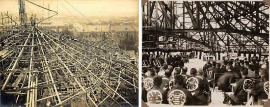 [左]建設当時の様子。屋根を支える小屋組は鉄骨造 [右]上棟式の様子。法被に見える「喜」の字は清水組を表すもの(写真:いずれも東京大学)