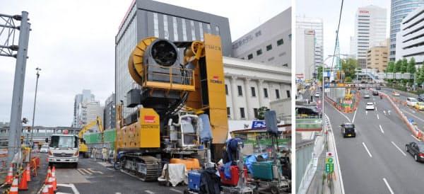 [左]駅建設工事現場で使用されているCSM機。世界に4台しかないという [右]CSM機を使った作業が行われている現場。限られたスペースで工事が行われていることが分かる(写真:いずれも小佐野カゲトシ)