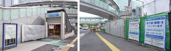 [左]工事に伴い2014年8月に閉鎖された市営地下鉄の第6出入り口 [右]2013年から移設作業が行われている市営地下鉄の第5出入り口(写真:いずれも小佐野カゲトシ)