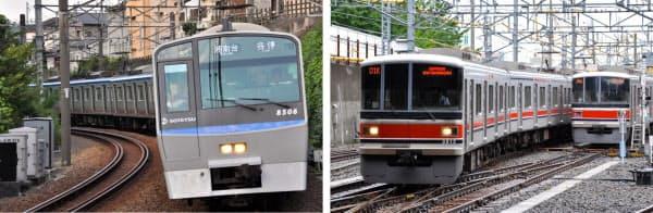 相鉄の車両は最も古い7000系を除くと全て幅2.9m以上と大柄だ。 写真の8000系は幅2.93m。最も広い11000系は2.95mある(左)。東急の車両は相鉄に比べると車体幅が狭い。写真の3000系は幅2.77m。車両限界は2.82mで、幅の広い現在の相鉄車両だと入線できない(写真はいずれも小佐野カゲトシ)