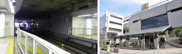 [左]日吉駅ホームの渋谷方。ホーム端にある電気室を付近の高架下に移設し、ホームを渋谷方に延伸する [右]相鉄・東急直通線が開業すれば、東横線・目黒線・横浜市営地下鉄グリーンラインと合わせ4路線が乗り入れる駅となる日吉駅。港北区の交通結節点としての重要性がより高まるだろう(写真:いずれも小佐野カゲトシ)