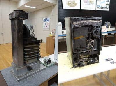 [左]実際の事故で焼損した石油給湯器 [右]NITEによる再現実験で焼損したビルトイン式食器洗機。ドアのヒンジ部の下の電力線を断線によりショートさせた