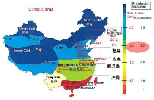日本と中国で求められる断熱性能の比較。東京や大阪と同温度域である緑に着色したエリアは2.5W/m2・Kと、中国の方がシビアだ(資料:テクノフォルムバウテックジャパンの資料を一部加工)
