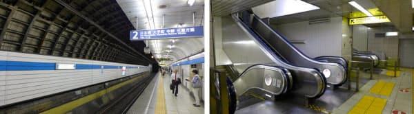 [左]約70mにわたってシールドトンネルを解体するホームの中野寄り。トンネル壁面に見えるセグメントを撤去する際には、内側に防護壁が造られる [右]現在は改札とホームを行き来するためにエスカレーターを乗り継ぐ必要があるが、新たに設けられるエスカレーターは改札階とホームを直結する