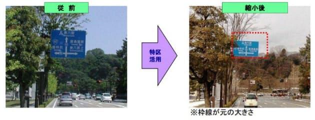 金沢市の特区で進める周辺環境に調和した道路標識の例(資料:内閣府)