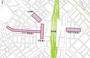 国家戦略道路占用事業の適用区域の一つ(資料:福岡市)