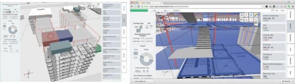 [左]建物の種には、構造部材や設備、間取り図などがあらかじめ組み込んである [右]階段や構造部材などの細部までがモデル化されている(資料:いずれもflux.io)
