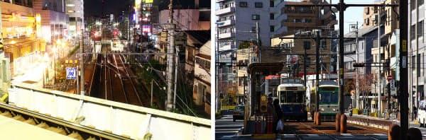 [左]京成線町屋駅ホームから都電荒川線町屋駅前を見下ろす。ホームの南側に片渡り分岐があるのが分かる。折り返し運転に使用している。都電の軌間は1372mm、京成は1435mm。京成は過去、都電に乗り入れる構想があり、1372mmの路線を保有していた時代もあった[右]センターポール(中央1本出し)タイプの架線柱が設置してある宮ノ前付近。道路の中央を軌道にして車道と分離したセンターリザベーションの区間だ(写真:いずれも大野雅人)