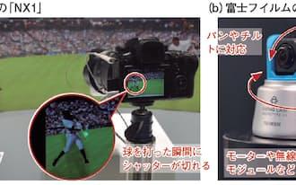 図2  photokina 2014では、自動撮影機能の提案が相次いだ。Samsungのミラーレスカメラ「NX1」は、打者がボールを捉えた瞬間を撮影できる機能「Samsung Auto Shot」を初めて搭載した(a)。富士フイルムは自動で人を追尾して撮影するデジタルカメラ「SWING CAM」を開発した(b)