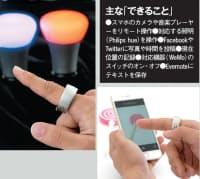 スマホ経由でLED照明のPhilips hueをコントロール(左)。点灯・消灯に加え、色の変更もできる。カメラを起動後、タッチセンサーをタップして撮影する(右)