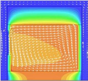 断熱強化型のシミュレーション画像。窓で冷やされた空気が床近辺にたまり、動き始める(資料:松尾和也)