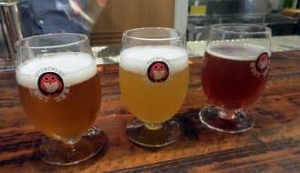 「ホワイトエール」「ヴァイツェン」「ペールエール」「アンバーエール」など、工場直送の常陸野ネストビールを約10種類用意