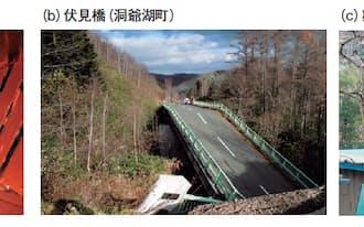 図3 社会インフラの破損事故が相次いでいる。(a)は、2012年12月に発生した中央自動車道の笹子トンネルでの天井板落下事故。(b)は、2014年11月に北海道洞爺湖町で発生した伏見橋の崩落事故。(c)は、2013年2月に静岡県浜松市で発生した第一弁天橋のケーブル破断事故(写真:笹子トンネルは大月市消防本部、伏見橋は洞爺湖町、第一弁天橋は国土交通省中部地方整備局)