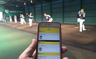 アプリを見れば投球練習をしている投手の名前が一目でわかる