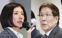 大塚家具の経営体制を巡り対立する創業者の大塚勝久会長(右)と娘の大塚久美子社長