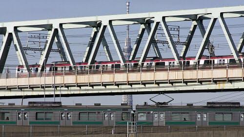 曙運河を渡る京葉線と埼京線の電車。京葉線の上り電車は、新木場駅の3階部分から進路を90度北にとり、次の潮見駅の先で地下へと潜っていく(写真:大野 雅人)