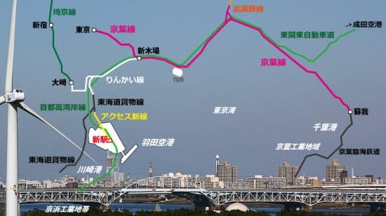 京葉線・りんかい線・埼京線の周辺図。りんかい線の車庫線の先で東海道貨物線と、京葉線の蘇我で京葉臨海鉄道と線路がつながっている。羽田空港と成田空港は東関東自動車道と首都高湾岸線を介してつながっている(写真:大野 雅人)