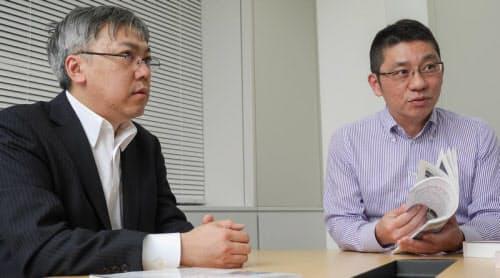 投資家/ブロガー/経済ジャーナリストの山本一郎氏(左)、盛之助 代表取締役社長の川口盛之助氏(右)(写真:加藤康)