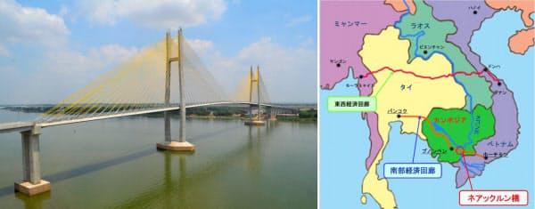 [左]カンボジアのメコン川に架かる「つばさ橋」。2015年3月撮影(写真:三井住友建設) [右]「つばさ橋」(ネアックルン橋)はプノンペンの南東約60kmに位置する(資料:三井住友建設)