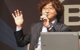 森川氏が次ぎに挑戦するのは動画ビジネスだ(10日、福岡市内で)
