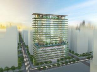 竹中工務店が提唱するプレミアムセイフティビルのイメージ。国家戦略特別区域などでの建設を想定して、低層階にオフィス、高層階に集合住宅を配置している。(資料:竹中工務店)