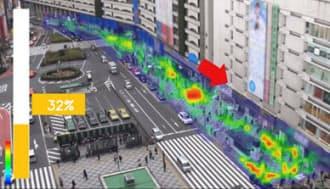 群衆行動解析システムの画面サンプル。混雑度や人の動きを見える化している(資料:NEC)