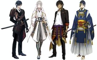 細部のデザインにまで凝った刀剣男士。画像右端は最もゲーム中で入手しづらい一番人気のキャラクター、三日月宗近。2015年5月12日より東京国立博物館でモチーフとなった日本刀が公開。ゲーム中に、いわくのある刀剣をそろえて特定の合戦場へ出陣すると発生する「回想」シーンが、キャラクター同士の絡みが好きな女性に大人気。燭台切光忠(画像左端)、鶴丸国永(画像左から2番目)、大倶利伽羅(画像左から3番目)の3キャラは伊達政宗所有の刀剣という同じ特徴を持つ