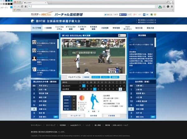 図1 テレビ番組と同じ映像をスマホやパソコンで楽しめる。ただアングルを切り替えられるなど独自の工夫もある