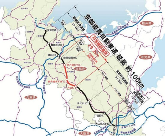 京都縦貫自動車道と丹波綾部道路の概要。赤い太線部分が7月18日に開通する(資料:国土交通省近畿地方整備局福知山河川国道事務所)