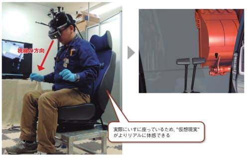 HMDをかぶって、運転席に座った状態を体感できる(左)。画面には運転席からの眺めが表示される(右)