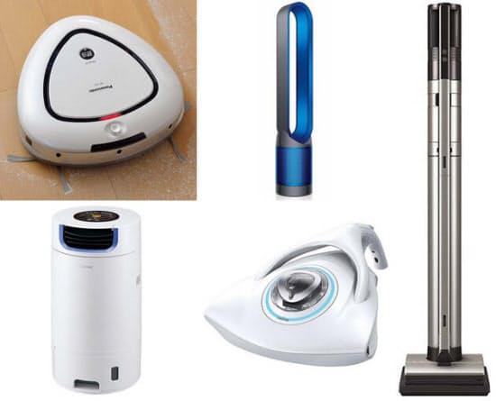 (左上から時計回りに)ロボット掃除機「ルーロ MC-RS1」、羽根なし扇風機「ピュアクール」、コードレス掃除機「インスティック HC-VXE20P」、布団クリーナー「レイコップRP」、除湿乾燥機「サーキュレートドライ RJ-XA70」