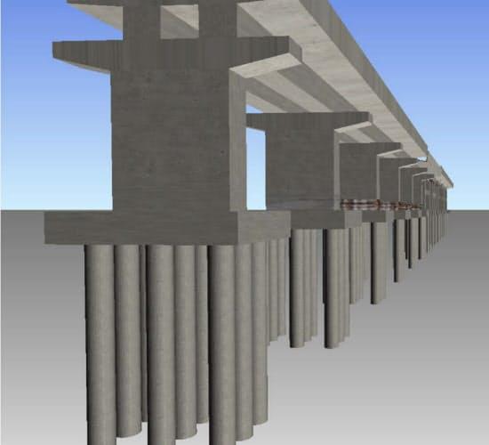 鉄道地震災害シミュレーターで予測した構造物被害を三次元で可視化。ひび割れや鉄筋が露出してはみ出している状況が分かる(資料:鉄道総合技術研究所)