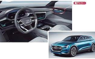 図5 Audiは、2018年に発売するEV(電気自動車)をイメージしたコンセプト車「Audi e-tron quattro concept」で電子ミラーを採用した