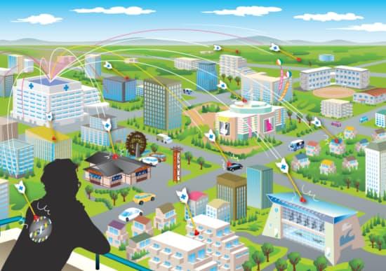 日経デジタルヘルスが提唱するソーシャルホスピタルの概念図(イラスト:楠本礼子)