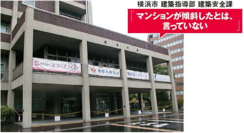 図2 10月14日の新聞報道を機に、杭問題に関する取材が横浜市に相次いだ。しかし横浜市建築安全課の担当者は、「傾斜したとか、沈下したなどと説明したことはない」と話す(写真:日経アーキテクチュア)